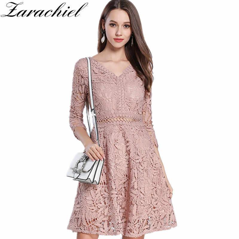 1c55444ce4693 Zarachiel 2019 New Summer Pink Lace Dress Women Elegant Sexy V Neck Hollow  Out Floral Slim Tunic Party Swing Skater A-Line Dress