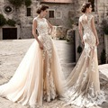 Robe de mariage New Vintage Wedding Dress 2017 Sheer Neck Cap Sleeve A-Line Court Train Lace Wedding Gowns With Removable Skirt