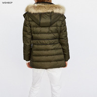WISHBOP Winter Quilted Puffer Jacket Detachable Faux Fur Hooded Long Sleeves Anorak Front Zipped Pockets Elastic