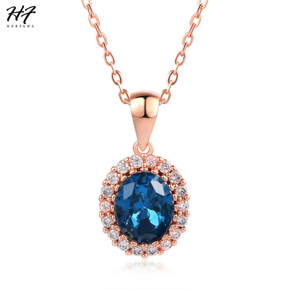 Top Quality Big Ocean Blue Cubic Zirconia Rose Gold Color Chain Pendant Necklace Engagement Jewelry for Women Wholesale N288