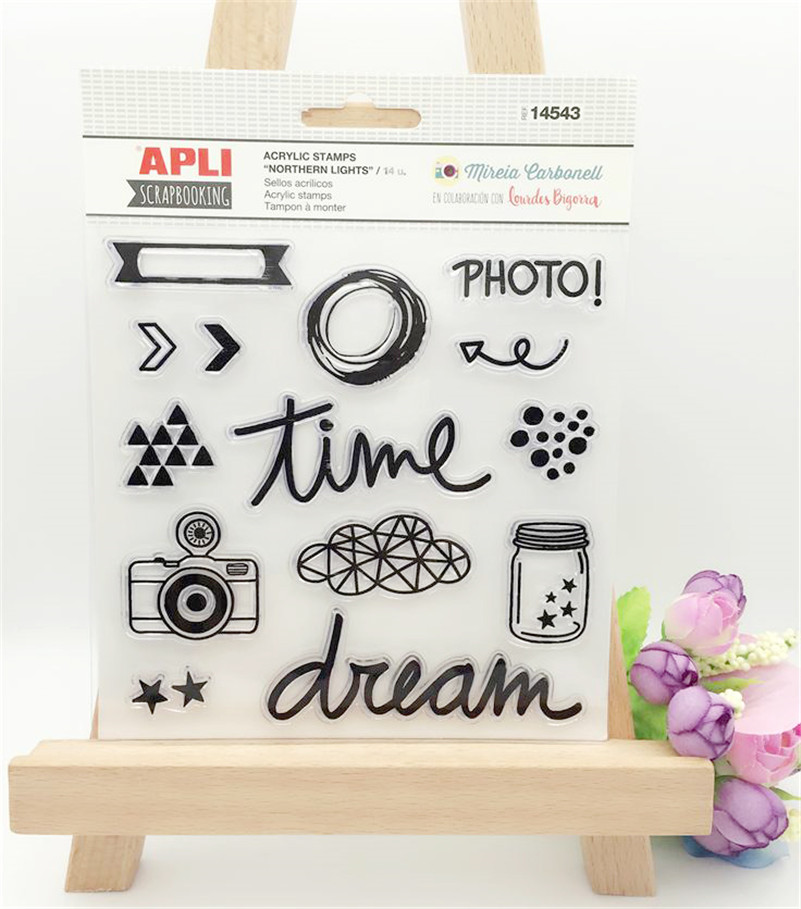 Scrapbook DIY photo cards time and dream stamp clear stamp transparent stamp for wedding Christmas gift photo album LL-038 letter phrase design scrapbook diy photo album paper cards silicone clear stamp transparent stamp for christmas gift tm 006