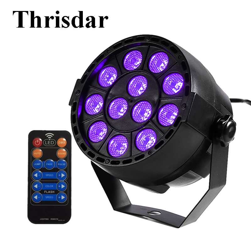 Thrisdar Sound Active 36W UV Led Stage light Ultraviolet Led Par Light DMX512 Stage Spotlight KTV Club Disco DJ Party Light