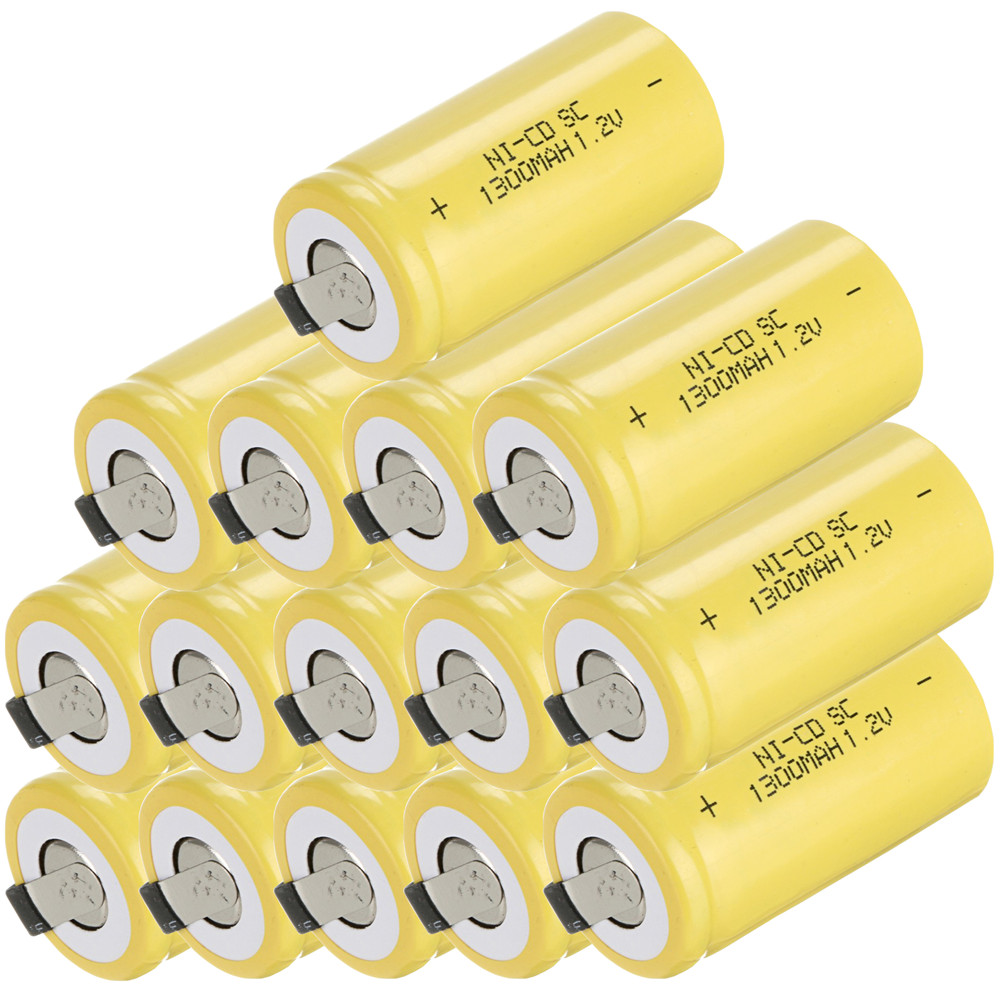 15 pcs SC 1300mah 1.2v battery NICD rechargeable batteries for emergency light toy equipment power batterie power tools