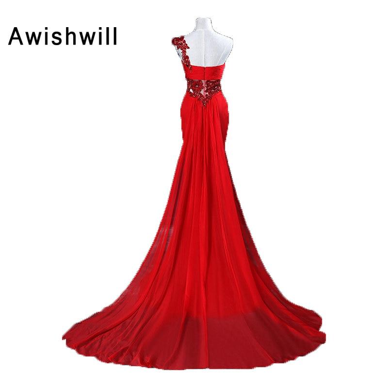 Verklig bild Vestido de Noche Largo röd kvällsklänning en axel - Särskilda tillfällen klänningar - Foto 2