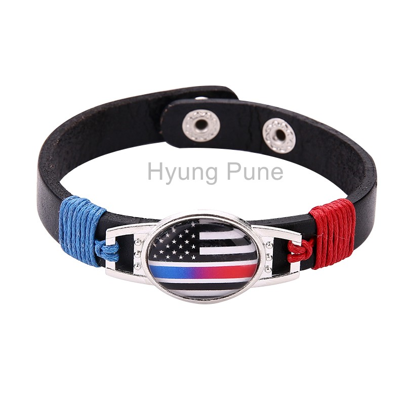 Thin Blue Red Line Police Fire Fighter US American Flag