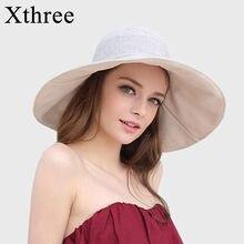 Xthree verano reversible sombrero para mujer grandes algodón de lino  casquillo de la playa del sombrero 661df21bc1d