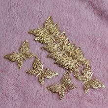 Motyl filigranowy okłady złoty srebrny Metal platerowany złącza rzemiosło 39x25mm do tworzenia biżuterii akcesoria DIY uroku wisiorek