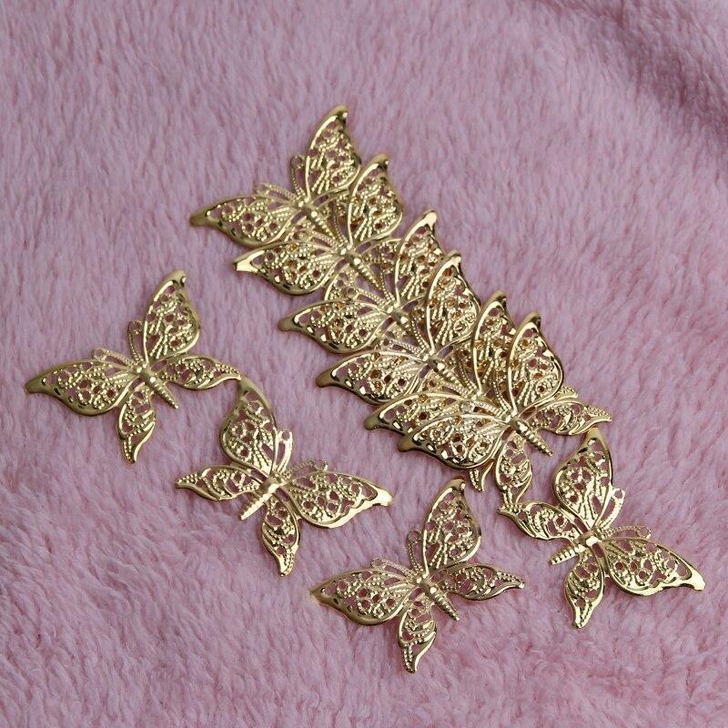 Schmetterling Filigrane Wraps 30Pcs Gold Metall Anschlüsse Handwerk 39x25mm Für Schmuck Machen DIY Zubehör Charme Anhänger filigrane