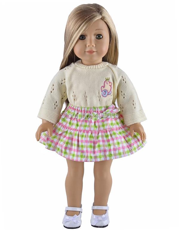 Handmade Sweater Flower Skirt Doll Clothes For 18 American Girl