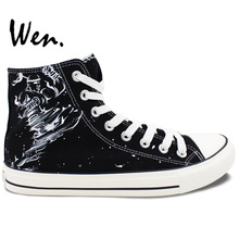 Wen Hand Painted Shoes Design Custom Black Shoes Muay Thai K.O. Men Women's High Top Canvas Sneakers Christmas Gifts
