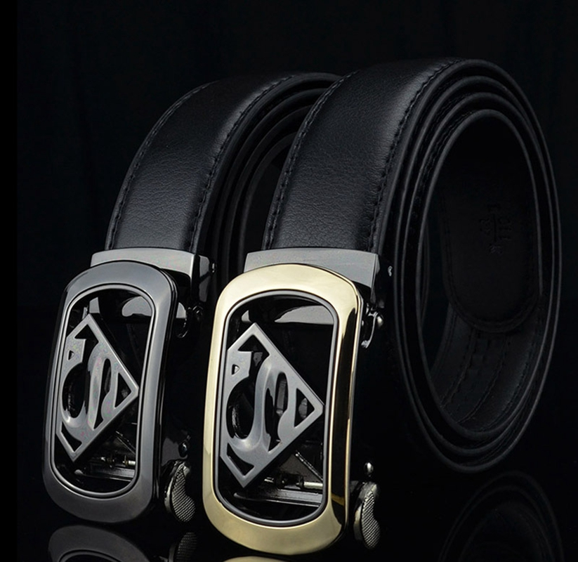 KAWEIDA New Designer Superman Automatic Buckle   Belt   Cowskin Genuine Leather   Belts   Metal   Belt   for Men Business Male Ceinture Riem