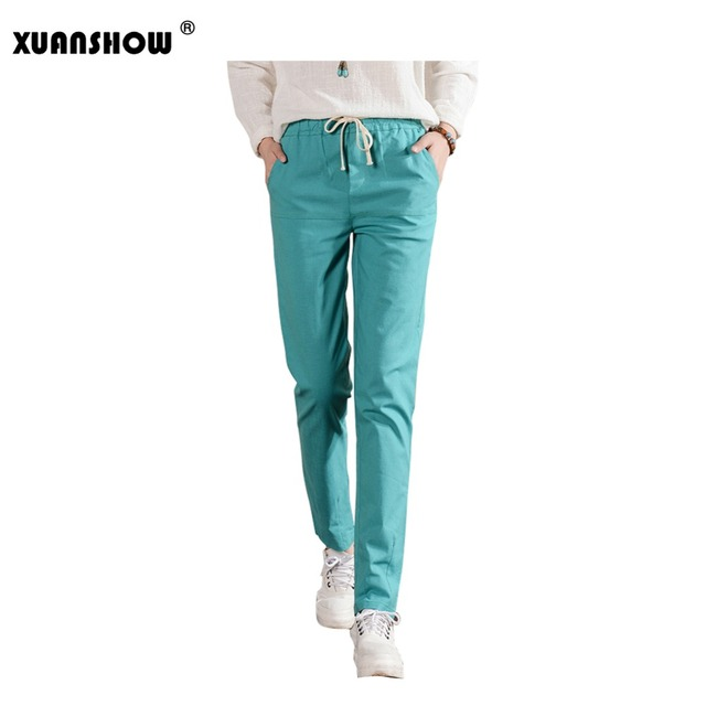 Spring Summer Women Long Pants Elastic Wist Trousers Pantalones Mujer