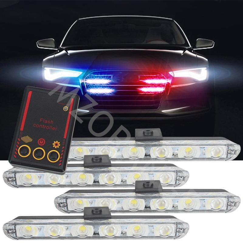 Car Truck Luz Intermitente Bombeiros Luzes de Emergência 4*6 Led Polícia Ambulância Carro-Styling Luz Luz de Advertência do Estroboscópio DC 12 v