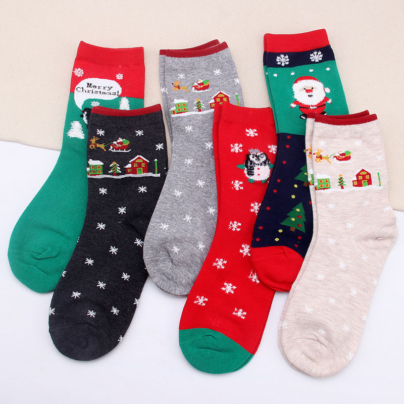 New Christmas Socks Classic Pattern Women Cotton Socks Female Winter Warm Short Socks Cute Creative Novelty Female Soks Gift