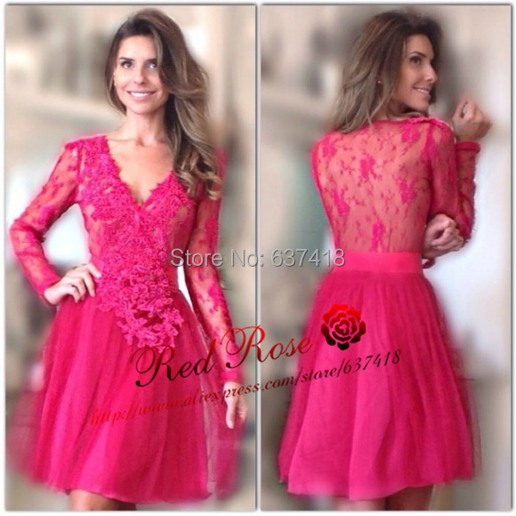 Abendkleider Fuchsia Pink Long Sleeve Short Prom Dresses Lace Long Sleeve Party Cocktail Dresses