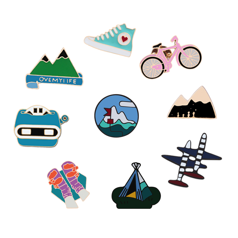 Pinback Buttons Badges Pins Dusk Fire Balloon Lapel Pin Brooch Clip Trendy Accessory Jacket T-Shirt Bag Hat Shoe