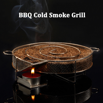 BBQ Grill Accessories Round Smoker with Apple Small Wood Chips Stainless steel Cold Smoke Generator Grill Bacon Meat Fish 8.07in