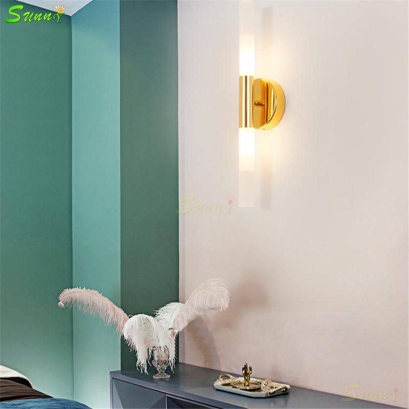 Nordique doré applique salle de bain chambre lampe de chevet salon fond éclairage mural Simple moderne LED toilette miroir lumière