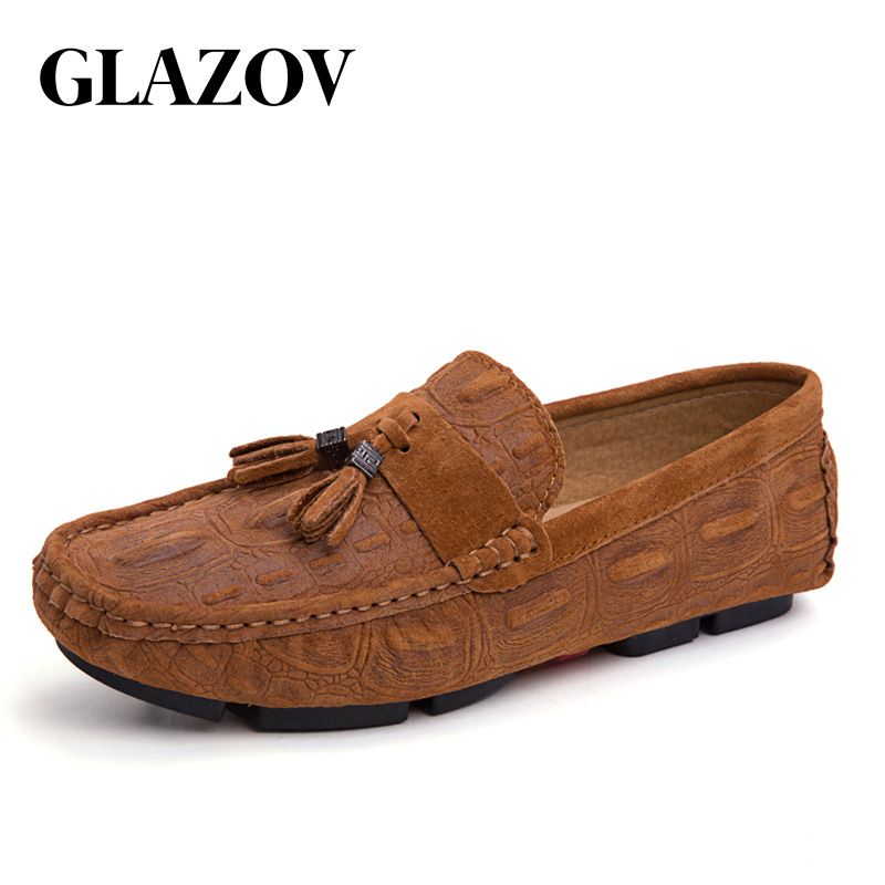 GLAZOV Spring New Arrival Men Driving Loafers Fashion Shoes Male Casual Moccasins Mens Shoes Large Sizes Men Cow   Suede   Shoes
