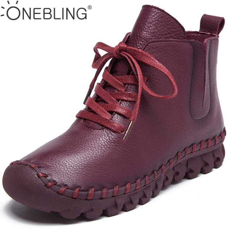 Winter Women Boots 2017 Spring Fashion Soft Casual Flat Shoes Genuine Leather Lace Up Sewing Warm Short Plush Ankle Boots