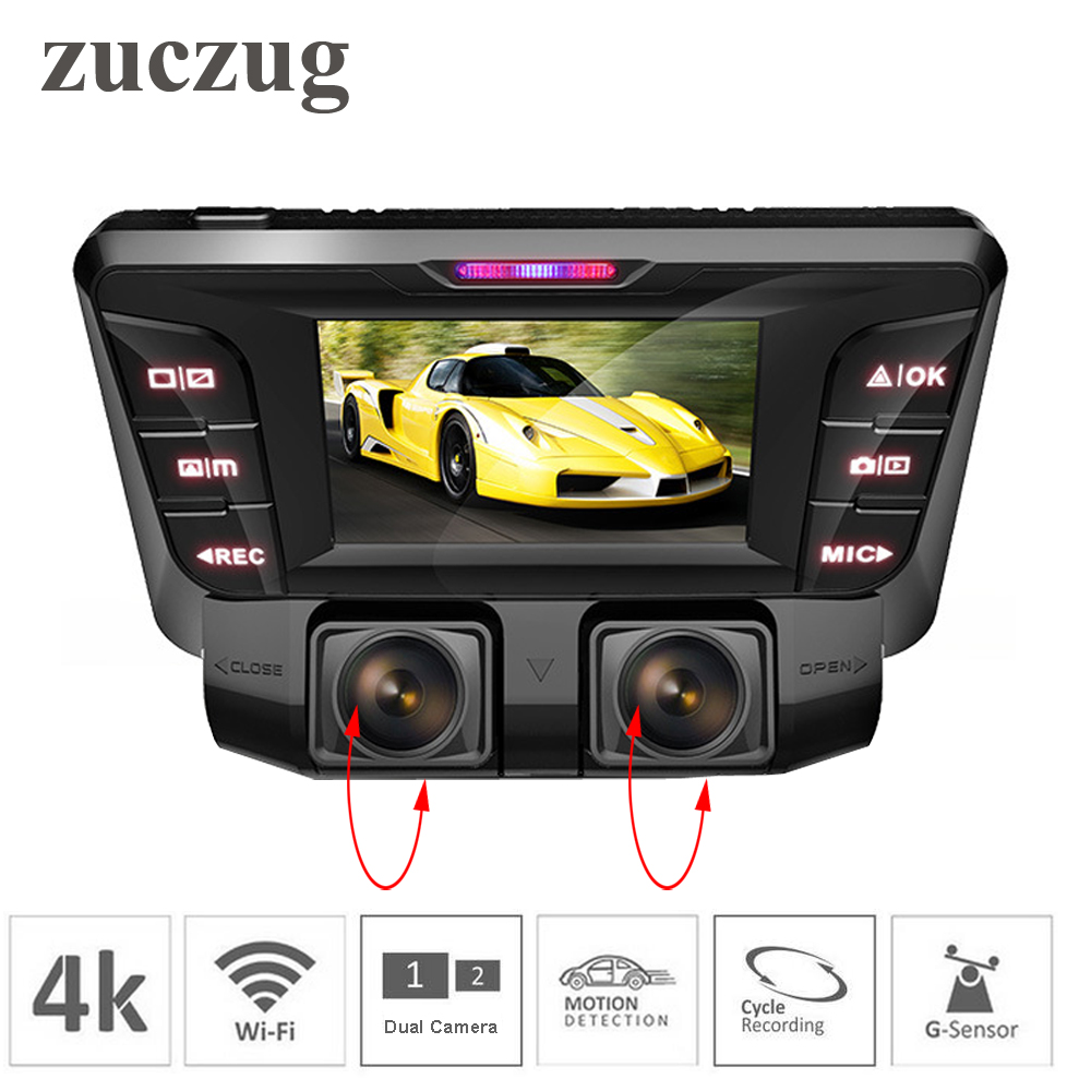ZUCZUG 4K hidden Wifi Car DVR Camera Novatek NT96660 Dash Cam dual lens SONY IMX323 Car Video Recorder Dual Full 1080P HDMI видеокамера sony fdr x1000v 4k