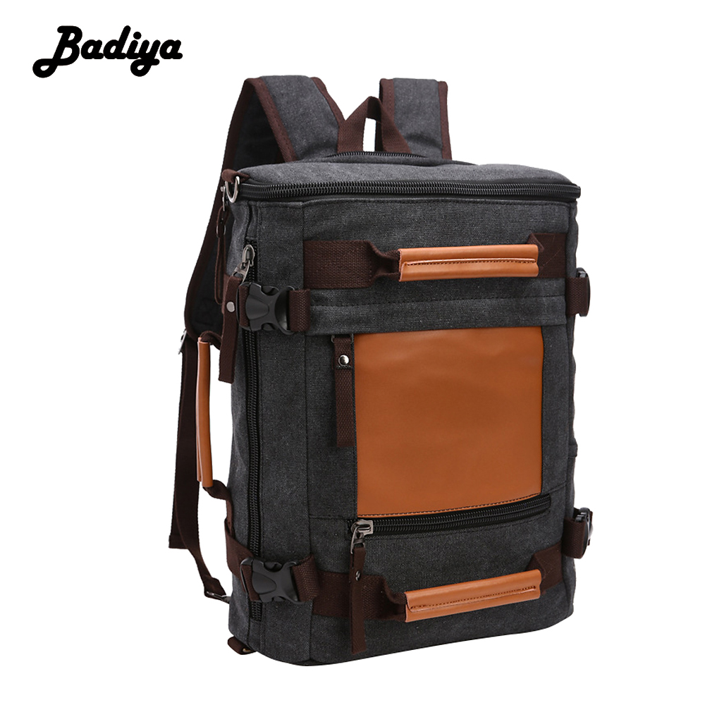 Portable Men Canvas Backpack Mulitifunctional Huge Travel School Laptop Shoulder Bag Functional Versatile Bags aosbos fashion portable insulated canvas lunch bag thermal food picnic lunch bags for women kids men cooler lunch box bag tote