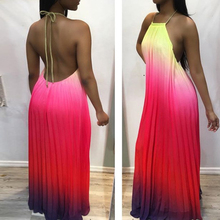 Spring New Womens Print Gradient Dress Sexy Sling Halter Nightclub Club Party