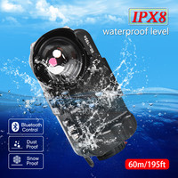 60m/195ft Waterproof Diving Case for iPhone 6 7 8 Plus X XR XS Max with Wide Angle Lens Bluetooth Smartphone Dive Housing 60M