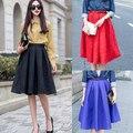 Линия Flare Плиссированные Saias Femininas Мода Street Style женская Твердые Черный Красный Синий Случайные Старинные Миди-Юбка