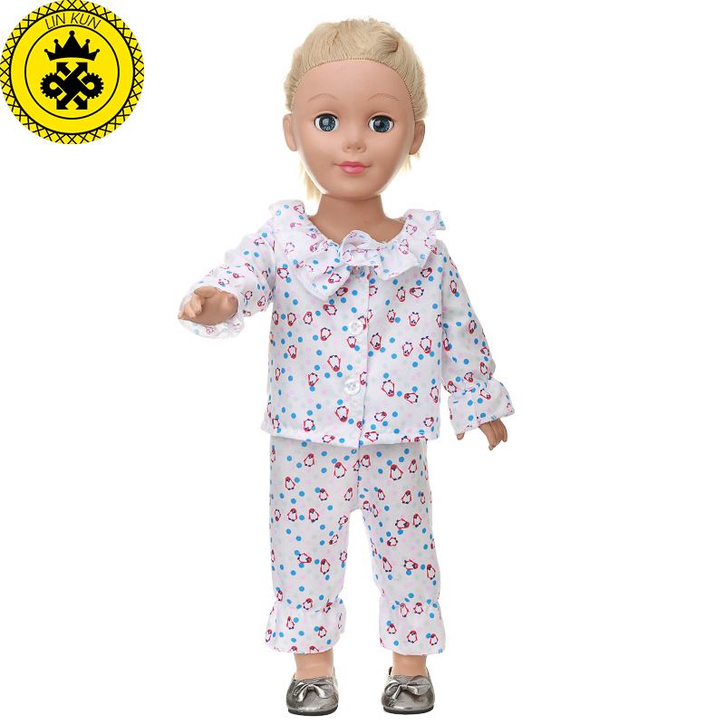 American Girl Doll Clothes 3 Colors Cartoon Pattern Printing Pajamas Suit Clothes for 18 inch Dolls Accessories MG-525 handmad 18 inch american girl doll clothes princess anna dress fits 18 american girl doll mg 032