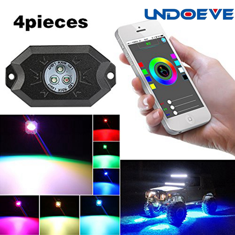 RGB LED Rock Light Kits with <font><b>Bluetooth</b></font> Controller ,Timing Function, Music Mode for <font><b>jeep</b></font> Cars Truck Exterior 4 Wheeler ATV SUV