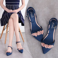 Womens Pointed Toe Jelly Flowers Flats Sandals Shoes Belt Buckle Soft Comfort Summer Black Red Gray Blue