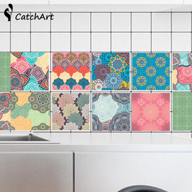 Colorful Retro Tile Tiles Stickers Pvc Bathroom Toilet Waterproof Wall Home Decor Poster 20