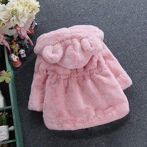 Image 5 - חדש אופנה חורף תינוק בנות בגדי פו פרווה צמר מעיל תחרות חם מעיל חג המולד חליפת שלג 1 8Y תינוק ברדס מעיל הלבשה עליונה