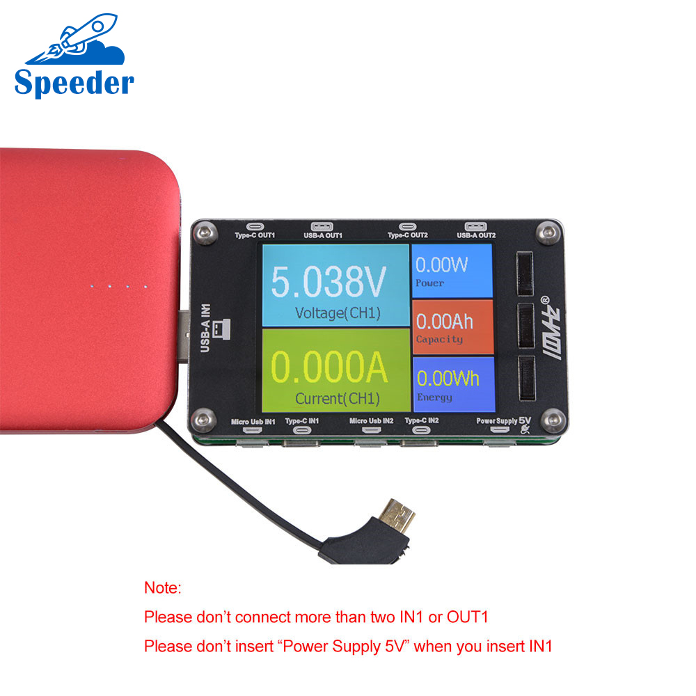 JC 100MHZ T50N Dual USB Voltage and Current Tester Capacity table with USB Current Test Cable