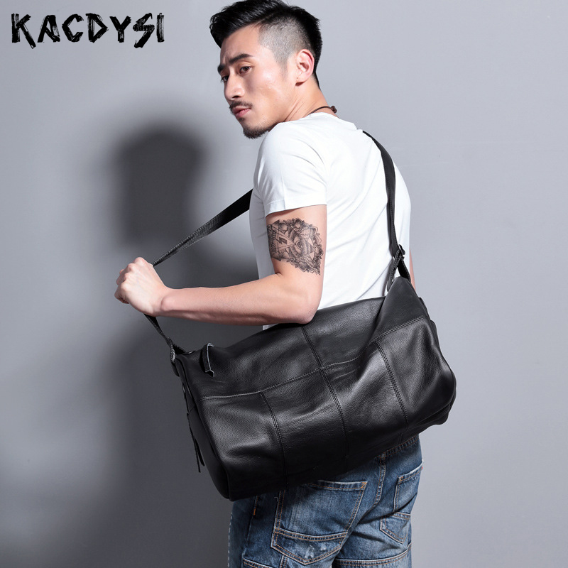 Messenger-Bags Travel-Bags Genuine-Cow-Leather Large-Capacity Handmade Soft Man Men
