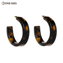 2018 New Hoop Earrings for Women Acrylic Resin Circle Geometric Leopard Statement Earrings Tortoiseshell Charm Jewelry Wholesale(China)