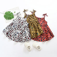 Baby Girl dress Summer Dresses Girl Princess infant Toddler Leopard Clothes Party wedding birthday Dress Head vestidos bebes L4(China)