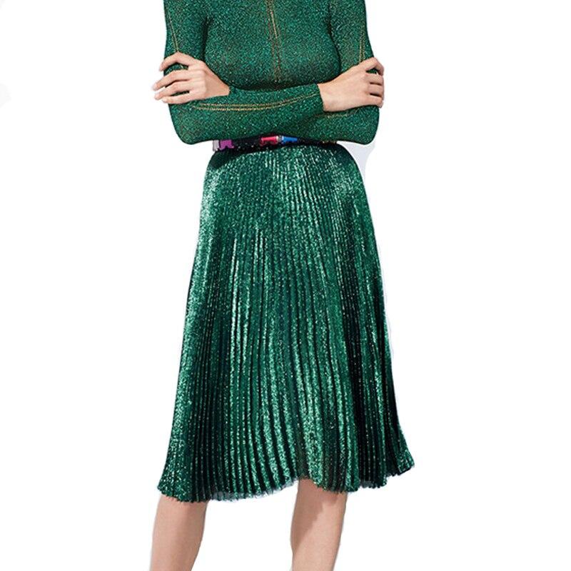 2016 Autumn Gold Sequined Women Skirts Vintage Green Midi Skirts Womens Retro Elegant Pleated Skirt