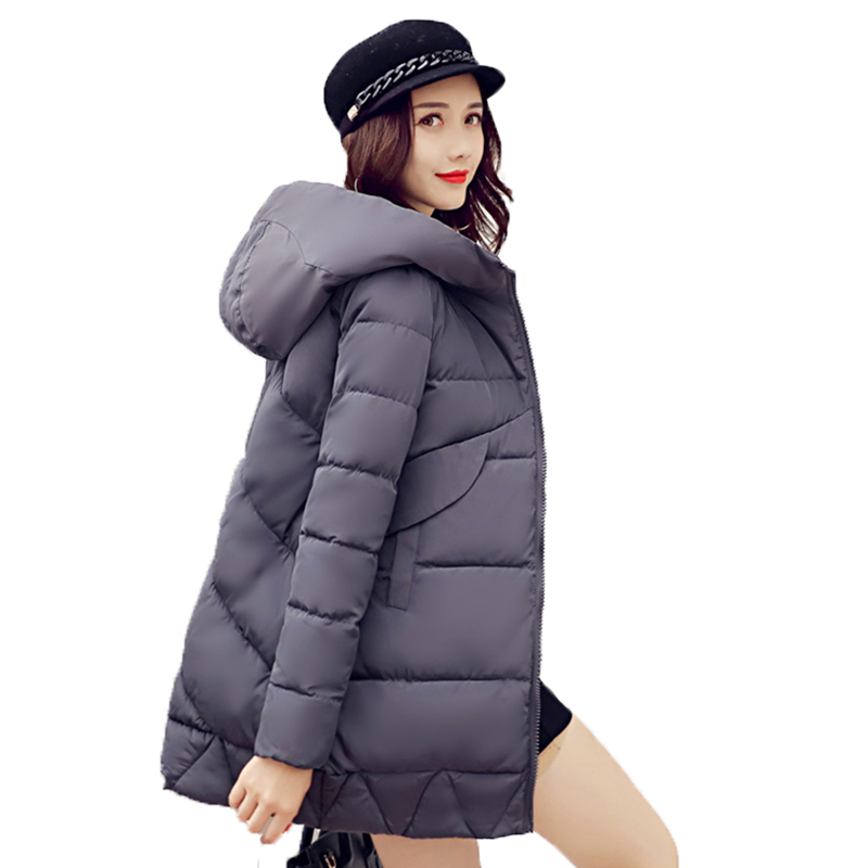 Women Fashion 2017 Winter Long Slim Parkas Warm Solid Women Jackets Wadded Zipper Hooded Female Coat Padded Outwear YP0491 new collocation winter warm parkas hooded pockets zipper solid thick women coat slim long flare slim cotton padded lady jackets