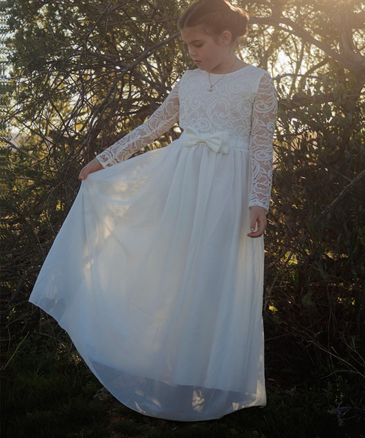 Fancy Lace Chiffon   Flower     Girl     Dress   with Ribbon Knot Zipper Back Full Sleeves Hot Sale Holy First Communion Gowns Custom Made
