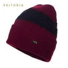 VEITHDIA Super cool Skullies hats for men beanies Knitted plus velvet Patchwork Color Cap winter men's hat gorro cap Thick warm