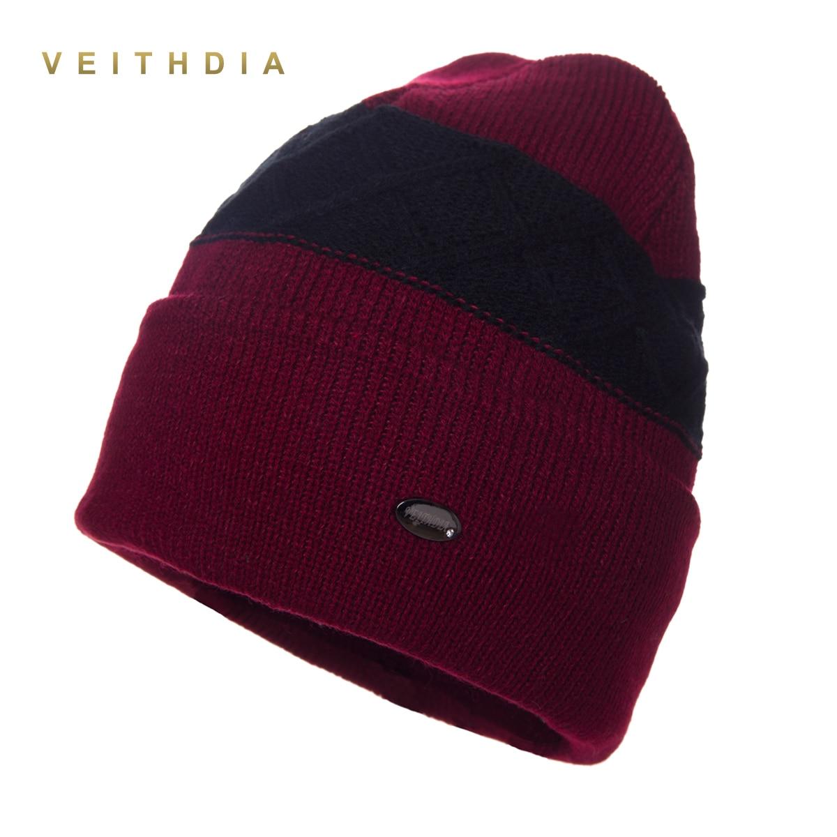 VEITHDIA Super cool Skullies hats for men beanies Knitted plus velvet Patchwork Color Cap winter men
