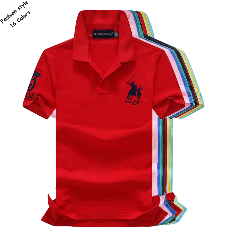 Top quality 2018 Summer mens short sleeve   polos   shirts casual cotton embroidery horse mens lapel   polos   fashion mens slim tops