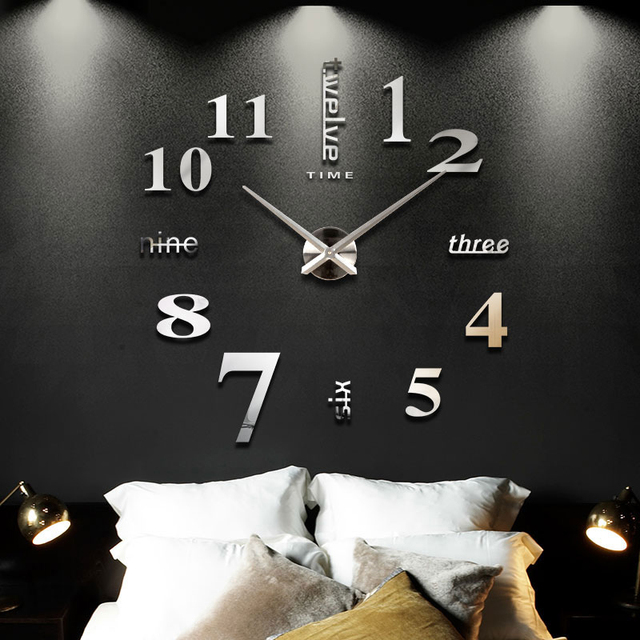 2018 New Home decoration big mirror wall clock modern design 3D ...