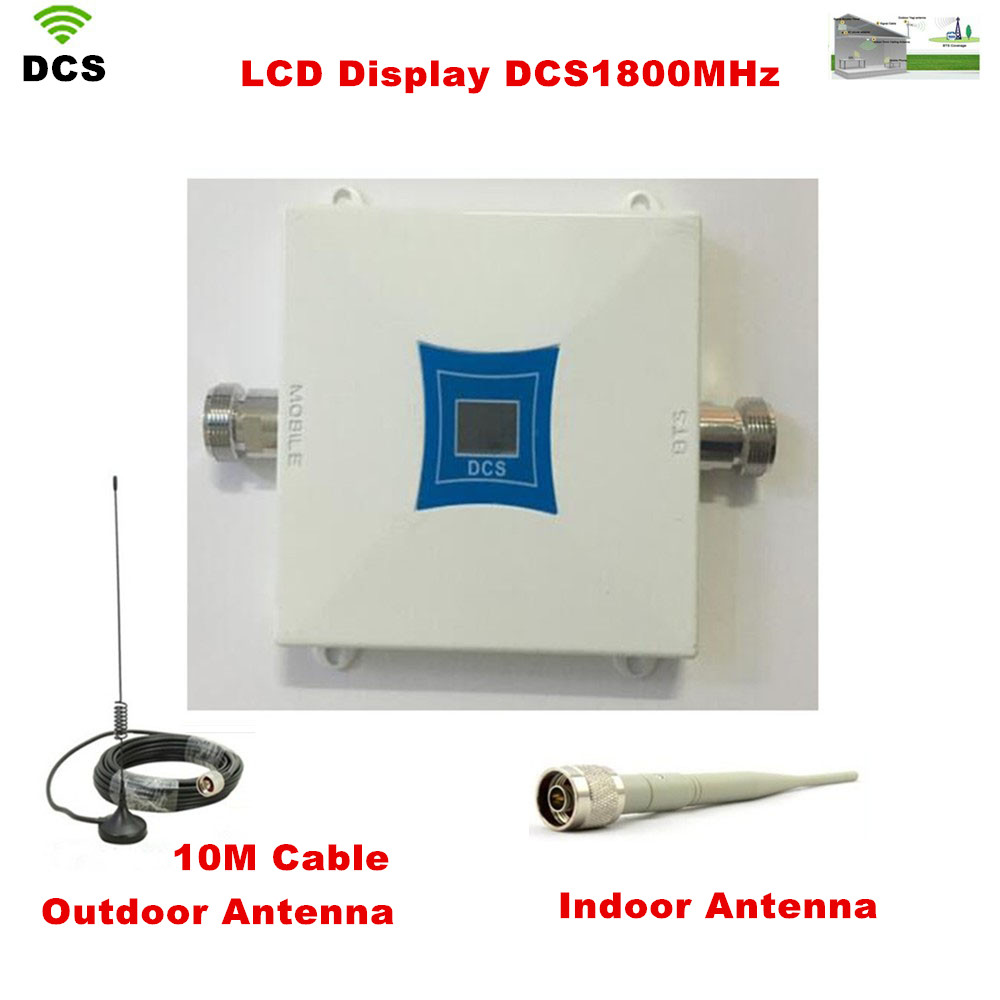 LCD Display ! Mini DCS 1800Mhz Mobile Phone Signal Booster , 4G DCS Signal Repeater , Cell Phone Amplifier With Cable + Antenna