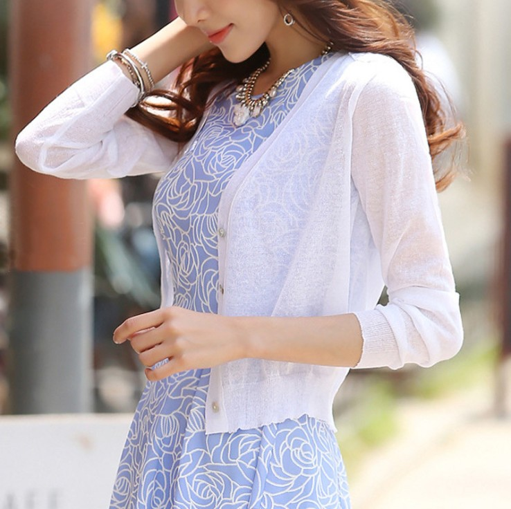 M-XL Summer Women V-Neck Knitted Casual Ice Silk Short Sweaters Cardigans Lady Knitting Outwear For Female