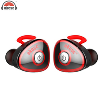 цены на OKCSC Mini Wireless Bluetooth Headset Twins In Ear Sport Earphones Stereo Running With Mic Support Phone Call for Phone xiaomi  в интернет-магазинах