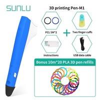 SUNLU 3D Printing Pen Include 200m PLA Filament 1.75mm Box Set For Children Explore Brains Gadget Handmade Craft Tools
