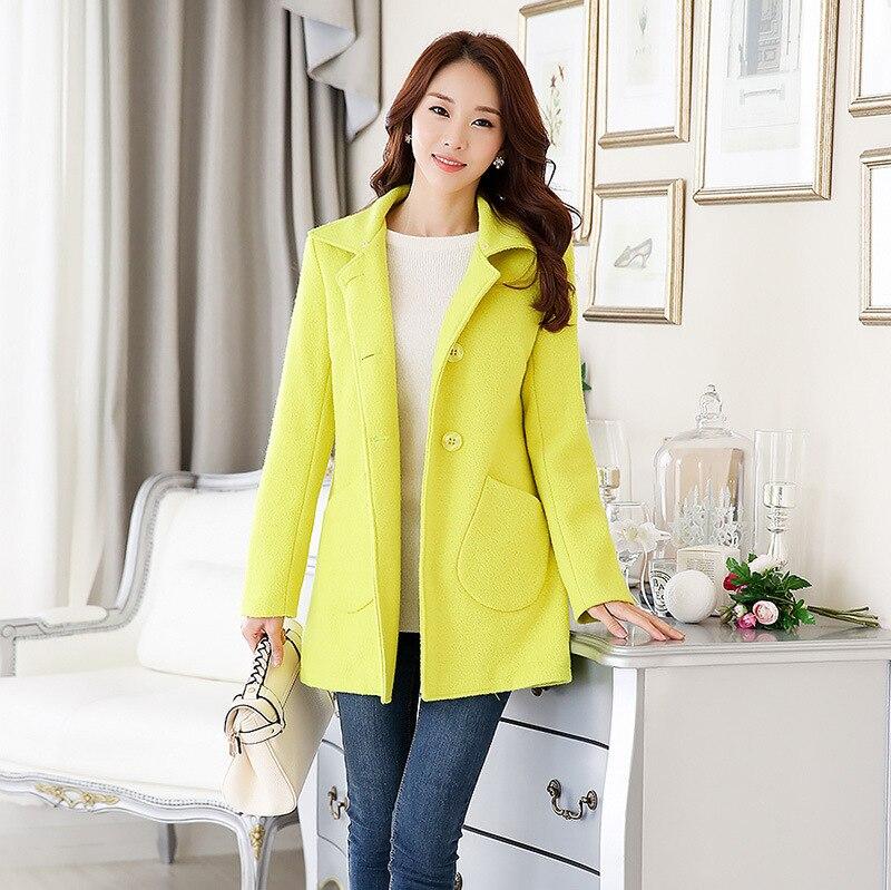 Fourrure Long Manteau Mince Solides Poches Pu Et D'hiver Femenino Laine jaune Col clair Mélange Manteaux De Ciel Mode Veste Poitrine En Unique À Px8wxT